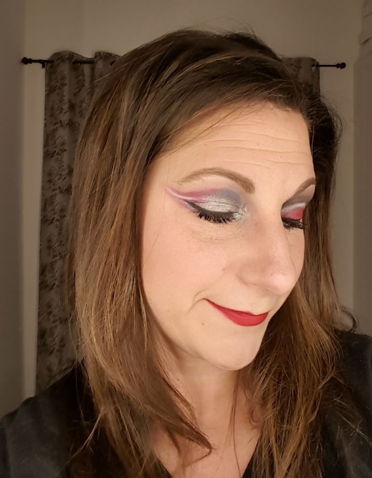 patriot inspired eye makeup.  used lipstick for shadow and lips.  be inspired  Click on image