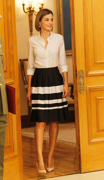 Queen Letizia of Spain attends audiences at Zarzuela Palace on September 2, 2015 in Madrid, Spain.