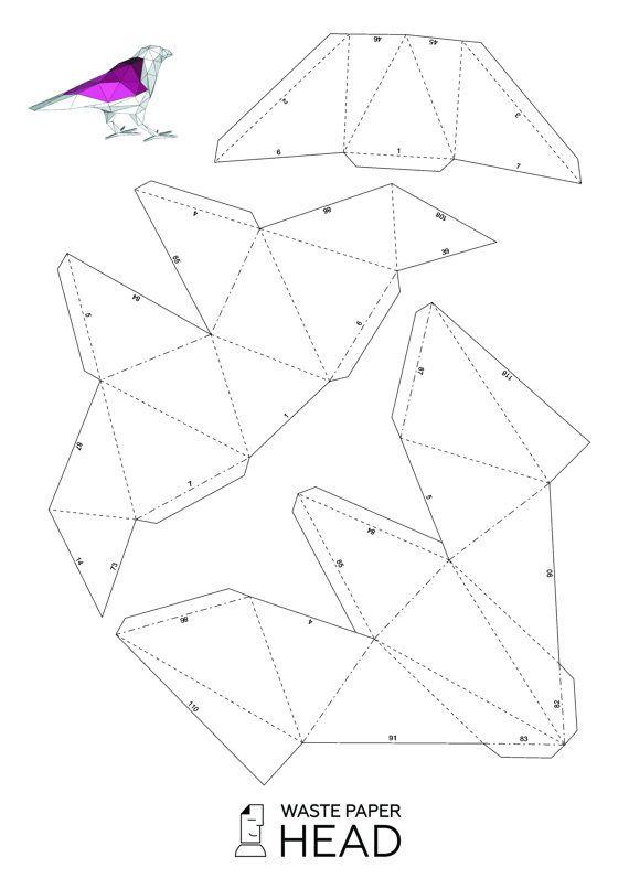Papercraft raven printable DIY template por WastePaperHead en Etsy