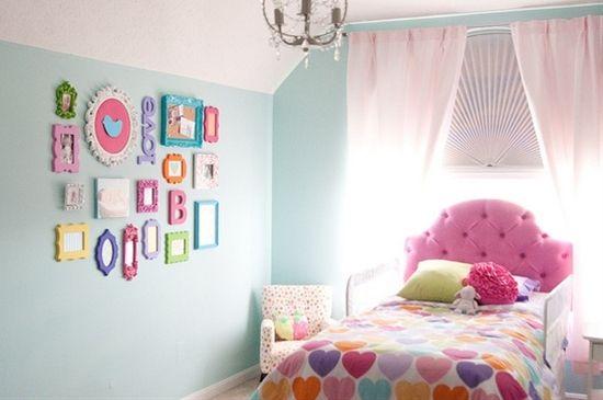 Toddler Girl Bedroom, love the colorful frames
