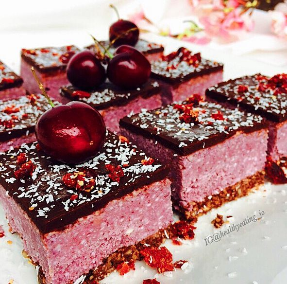 Raw Vegan Cherry Ripe Slice by @healthyeating_jo | Sweeter Life Club