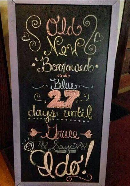 cute chalkboard for a bridal shower