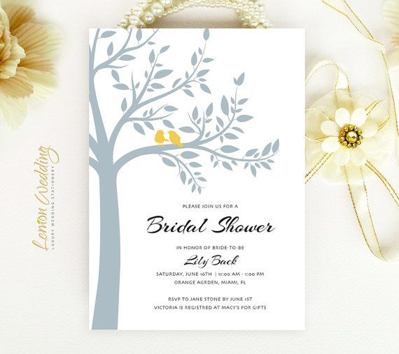 Tree bridal shower invitations printed | Gray and yellow wedding shower invitation | Couples shower invitations | Bird bridal shower invites