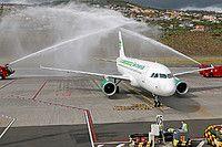 Germania Flug Airbus A319-112 HB-JOH aircraft, parking at Portugal Madeira Funchal International Airport. 03/11/2016.
