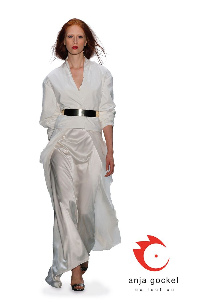 A glorious white evening dress made from luxurious satin silk and chiffon. Topped up with a casual but elegant double layered soft cotton stretch jacket and a golden belt.