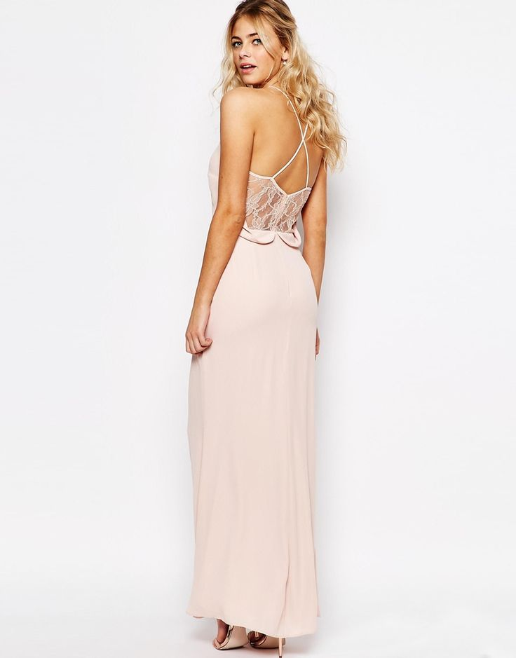 Elise Ryan Cami Strap Maxi Dress With Dipped Lace Back