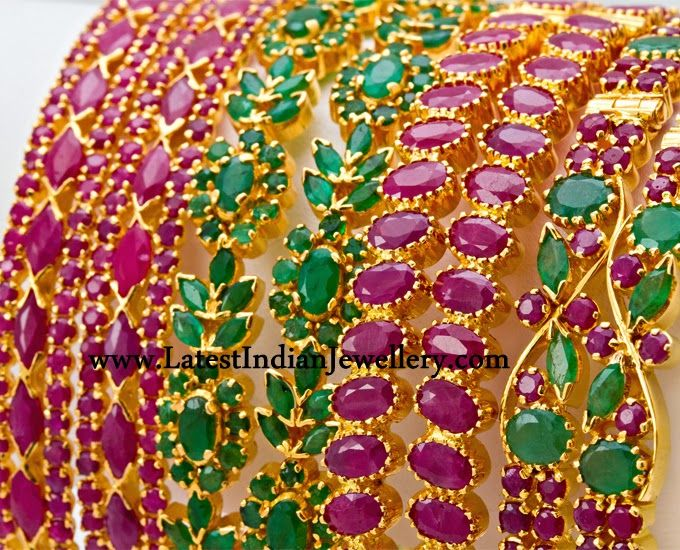 Latest Ruby Emerald Bangles Gold Jewellery N Art Pieces