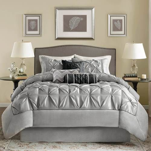 Madison Park Laurel Grey Comforter Set - Queen (Ruched) by Madison Park Bedding