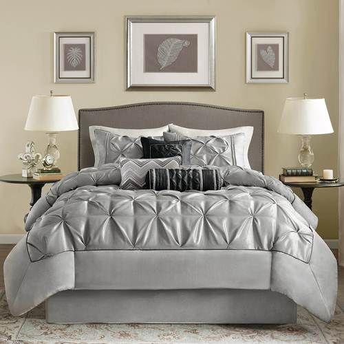 Madison Park Laurel Grey Comforter Set Queen Ruched By Madison Park Bedding