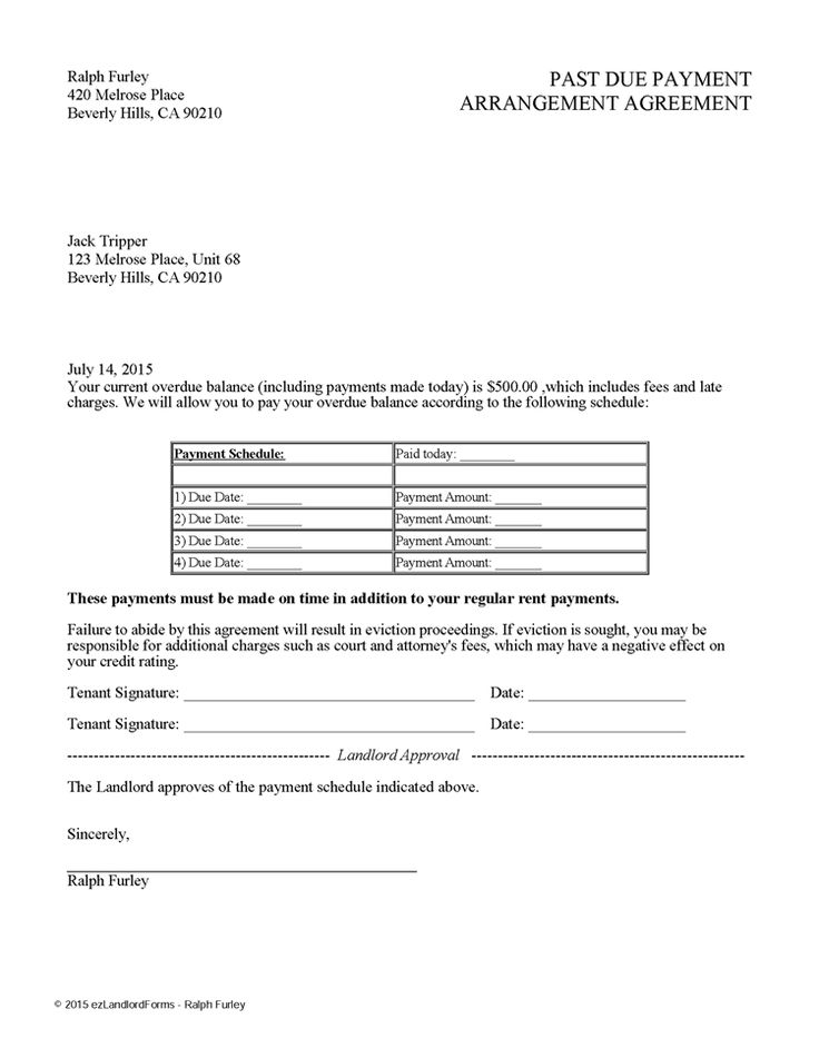 Past Due Payment Arrangement Agreement EZ Landlord Forms Rent