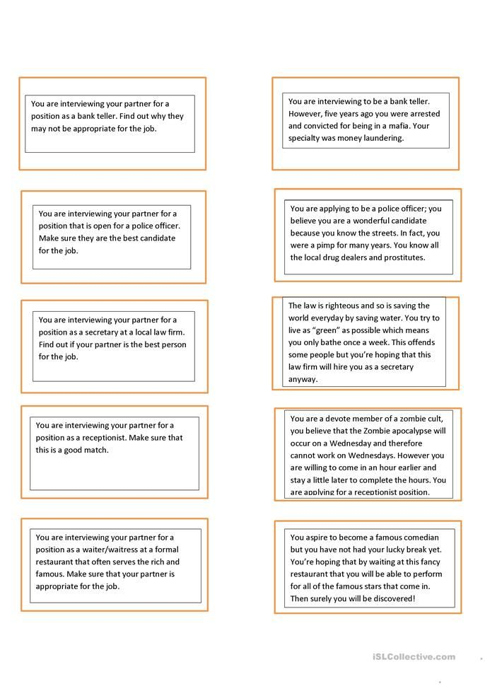 job interview game what s wrong with me speaking worksheet rh pinterest com