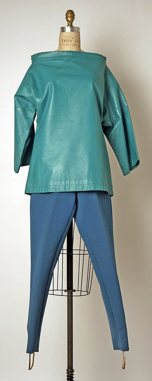 Bonnie Cashin ensemble in leather and wool. Fall/Winter 1959-1960. Gift of Helen and Philip Sills Collection of Bonnie Cashin Clothes, 1979. The Metropolitan Museum of Art online Collection.