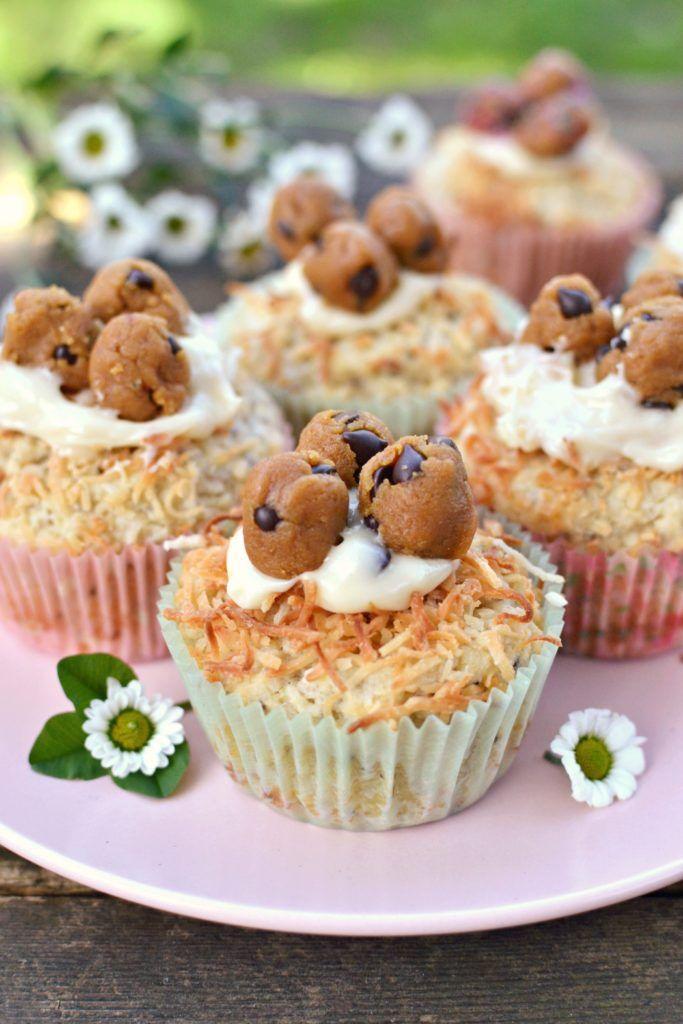 "Easter Coconut Muffins ft. Cookie Dough ""Eggs"" (Vegan) | http://www.radiantrachels.com/easter-coconut-muffins-ft-cookie-dough-eggs/"