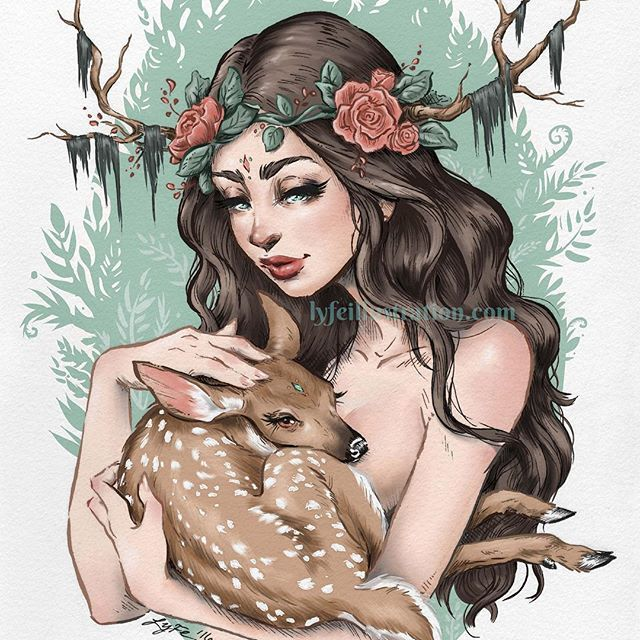 My 🌸Forest Nymph🌿 piece has been around for over a year now, but she still means a lot to me :) I had been having a rough time with my senior portfolio and took a break to draw freely. This is what came from that and it shifted my work in a positive way. I really began listening more to my heart while drawing so to speak. Not quite sure how else to explain it! So here's to you, Forest Nymph! Your my #WCW today💗 You guys can own a print of her in my shop :) she's also on my business cards…