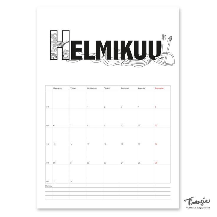 Ilmainen tulostettava helmikuun  2017 seinäkalenteri #ilmainen#tulostettava #kalenteri #2017 #helmikuu #free #print#calendar #February