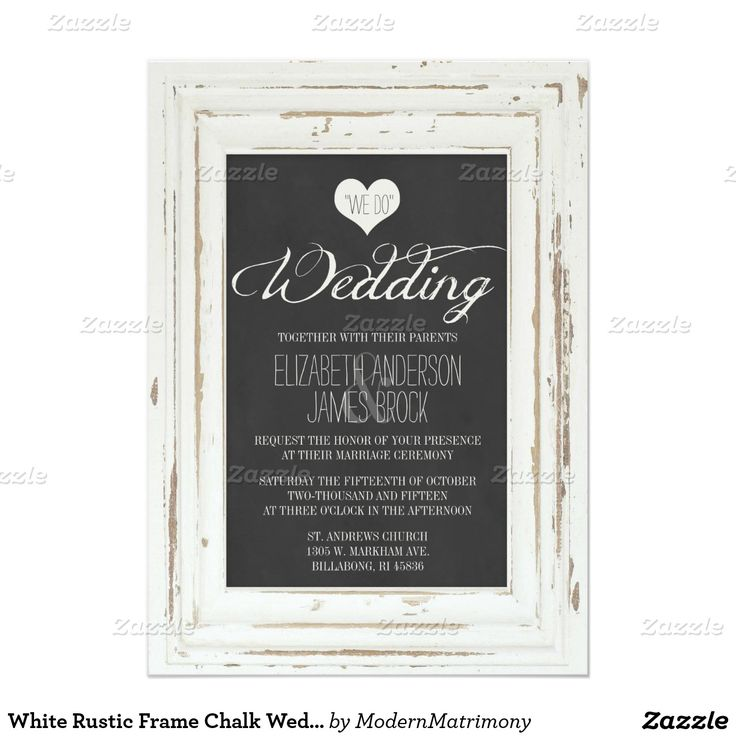 size of response cards for wedding invitations%0A White Rustic Frame Chalk Wedding Invitation