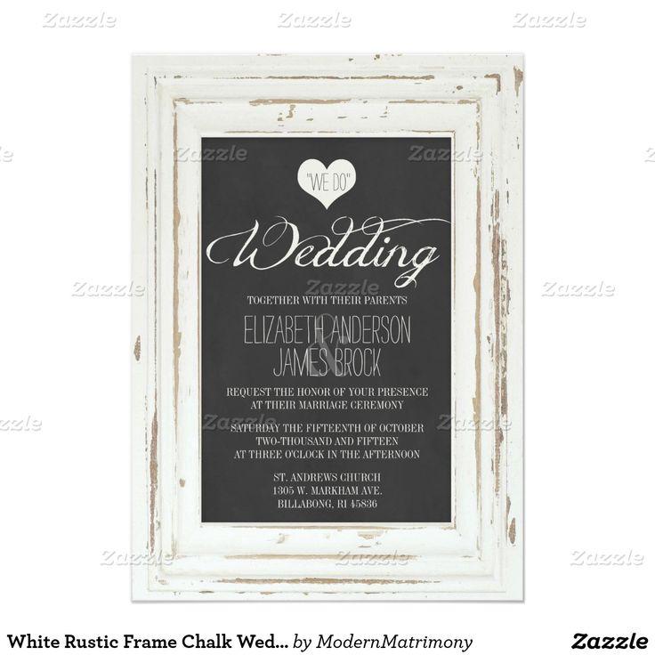 zazzle wedding invitations promo code%0A White Rustic Frame Chalk Wedding Invitation