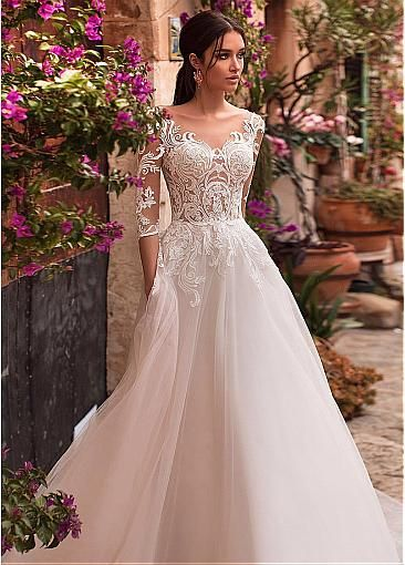 Delicate Tulle Scoop Neckline See-through Bodice A-line Wedding Dress With Lace …