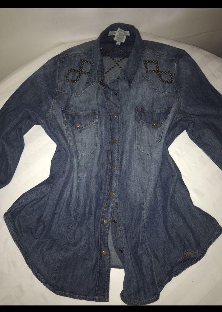 Women's STETSON Blue Jean Shirt Embellished Long Sleeve Buttoned 2X    eBay