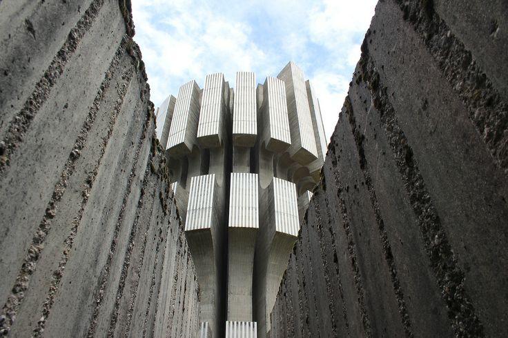 Monument to the Revolution, Mrakovica, KOZARA, Bosnia; concrete and stainless steel; hight 30 m