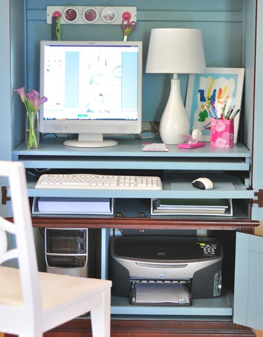 Instead of using your cabinet for filing papers, dedicate the space to your printer. Tip: Go digital and scan most of your papers so this doesn't feel like that big of a compromise.