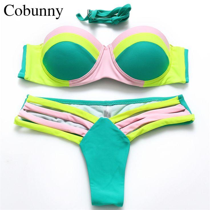 COBUNNY Push Up Costume Da Bagno Beach Bikini A Fascia Donne Stampa Leopardo Costumi Da Bagno Perizoma Costume Da Bagno Brasiliano bikini Set