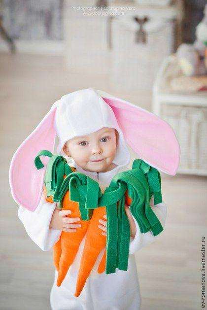 Детские карнавальные костюмы ручной работы. Ярмарка Мастеров - ручная работа. Купить Костюм зайца + морковки. Handmade. Белый