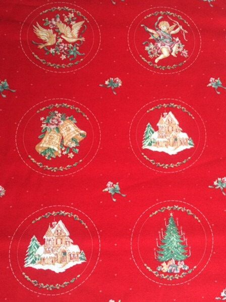 This is a Christmasy red fabric with a vintage look. Colors may vary on different computer monitors.     Themes include fireplace scenes,