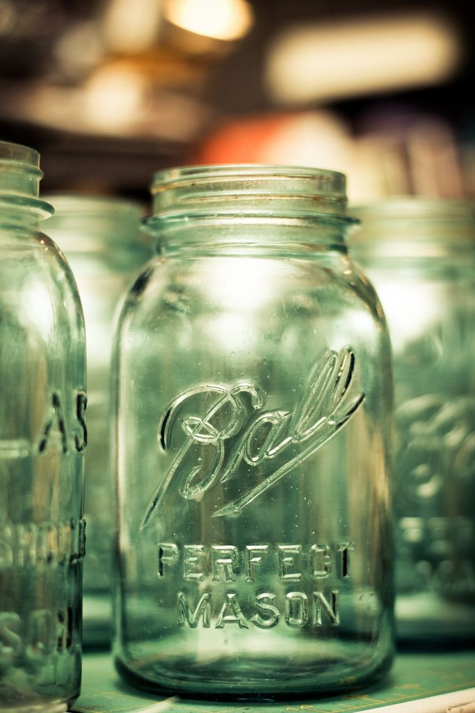 Vintage Blue Mason Jars look fabulous in