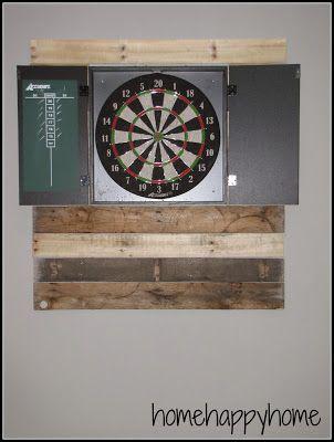 basement game room pallet dart board surround