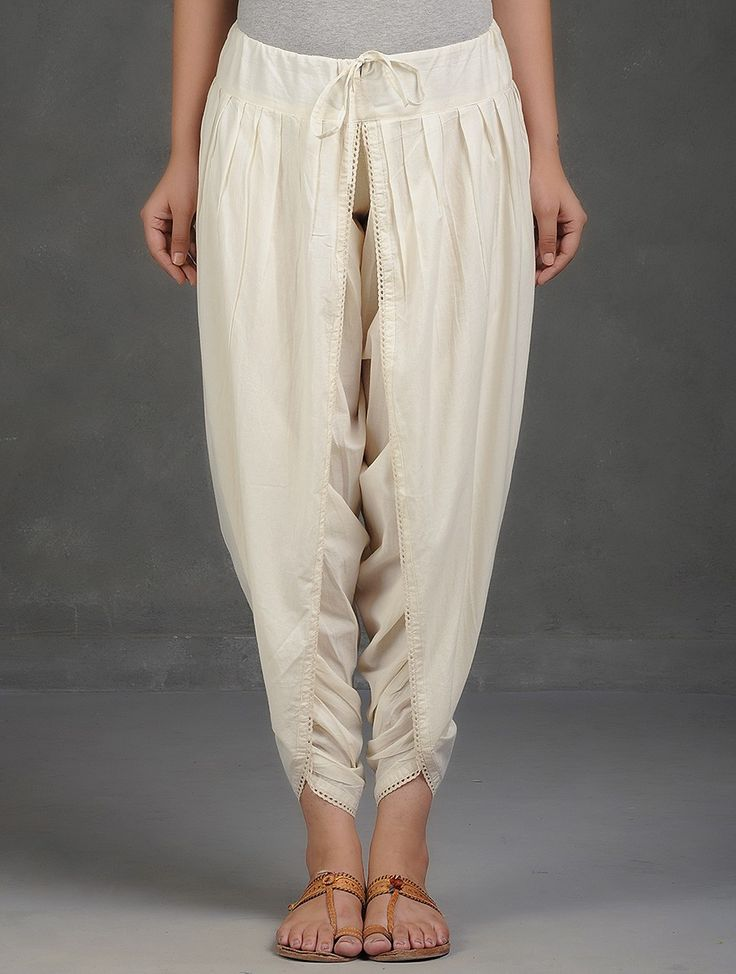 Buy Ivory Tie Up Waist Cotton Dhoti Pants with Lace Women Hansika Appliqué Embroidered Chanderi and Kurtas Palazzos Dresses More Online at Jaypore.com