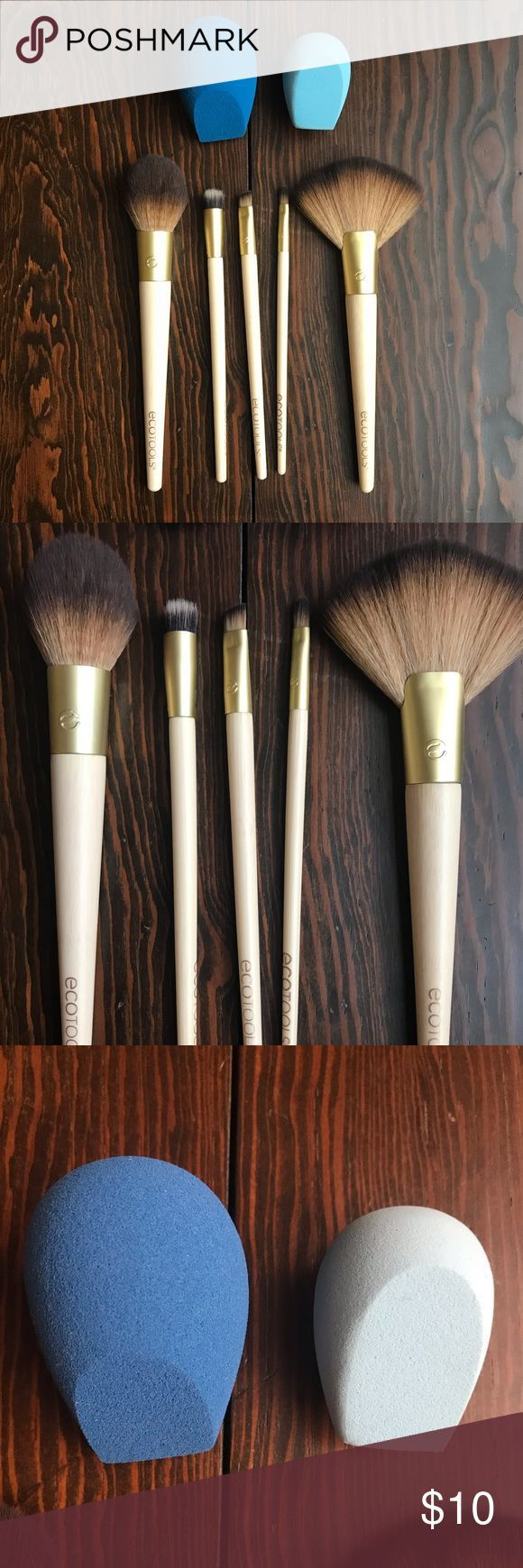 Lot of EcoTools Brushes and Sponges Two sponges and Five