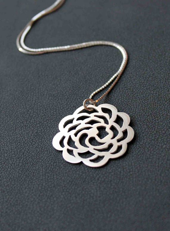 Contemporary Sterling silver flower necklace. Handcut Silver