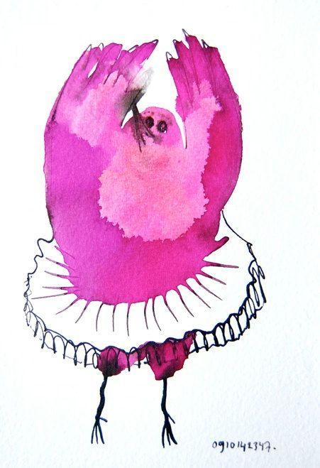 Roze vogel ballerina tutu originele tekening van BIRDADAY op Etsy
