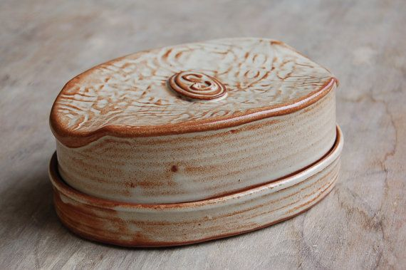 Covered Butter Dish with Monogram, Pottery Butter Dish or Cheese Plate Serving Dining Wedding Gift
