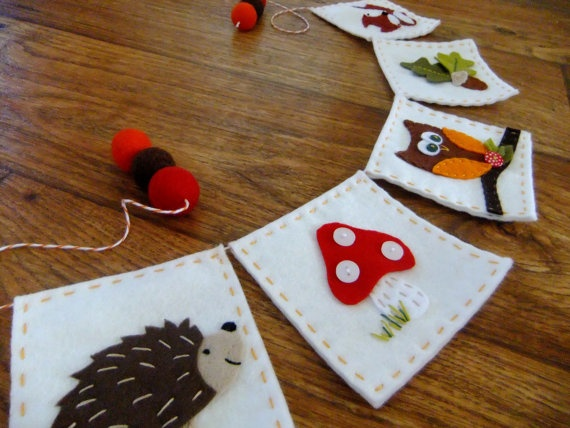 hand appliqued woodland bunting