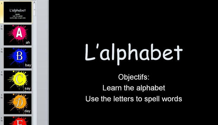 Good powerpoint to introduce the letter sounds in French.  You have to subscribe to TES connect but it is free and worth it.  There are a lot of documents you can use directly or download and adapt to your liking.