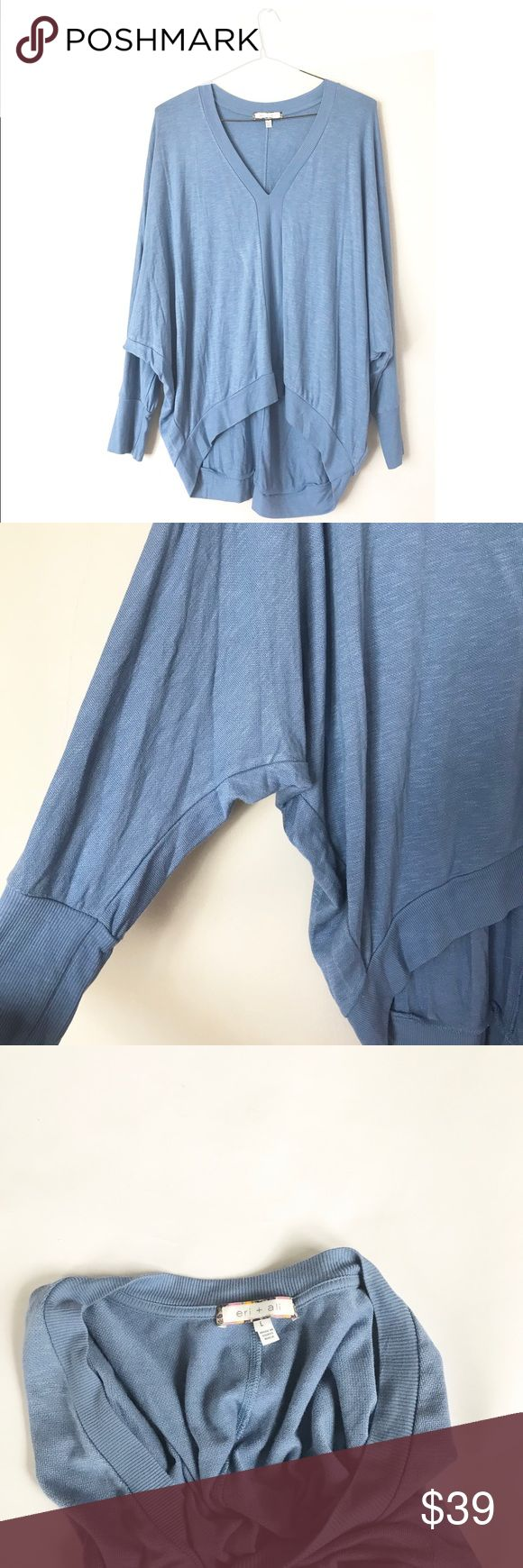 Anthropologie Eri + Ali Blue Top Sz L Very soft and comfortable fabric. Lovely batwing style long sleeves top. It's in like new condition. Anthropologie Tops