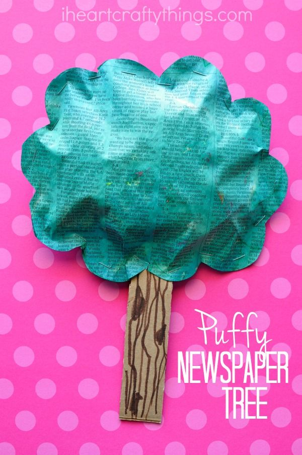 I HEART CRAFTY THINGS: Puffy Newspaper Tree Craft for Earth Day