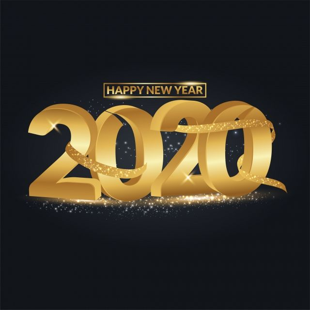 Happy New Year 2020 3d Text With Gold Glitter Happy New Year