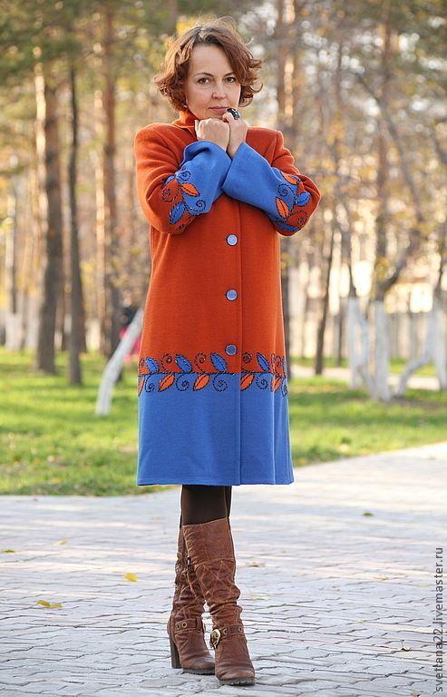 """Купить Вязаное пальто """"Любимые цвета-2"""" - орнамент, авторское пальто, вязаное пальто, шерсть"""