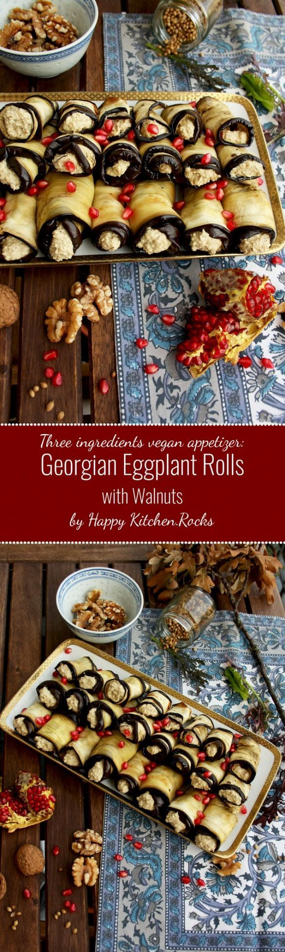 Easy and healthy vegan appetizer: Georgian Eggplant Rolls with Walnut Filling. You only need three ingredients and a bit of spices to make it! Great idea for party finger food.