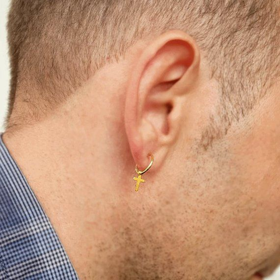 new product look for on feet at Gold cross earring for men, Dangling Small cross earring 14K Gold ...