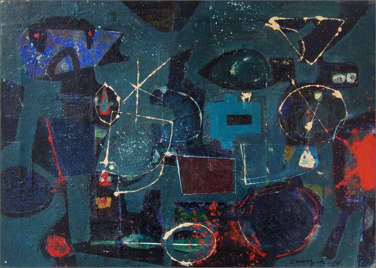 """Sin título, 1955  Óleo sobre lienzo  50 x 70 cm  Firmado y fechado zona inf. dcha.: """"Canogar / - 55 -""""  Colección del artista, Madrid"""