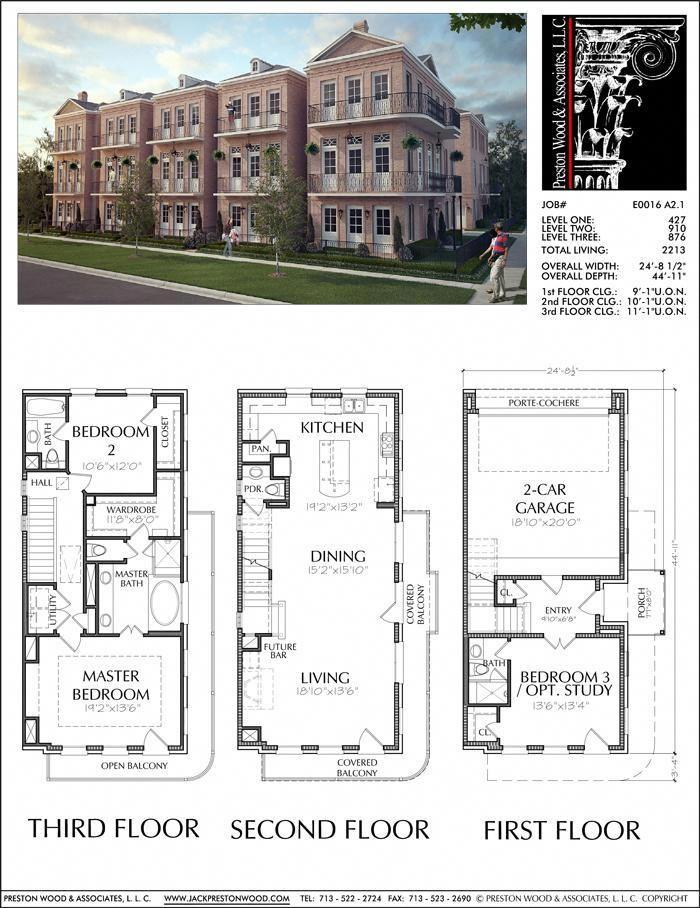 Three Story Townhouse Plan E0116 A2 1 Town House Floor Plan House Blueprints House Design