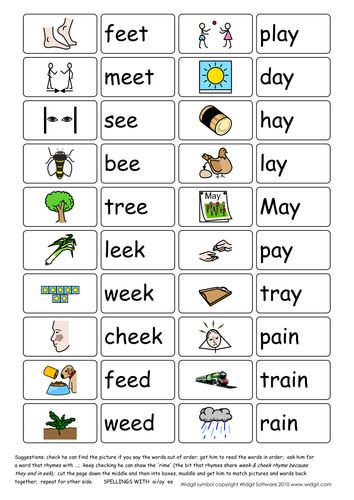 Vowel Digraphs Ai Ay And Ee Illustrated Widgit