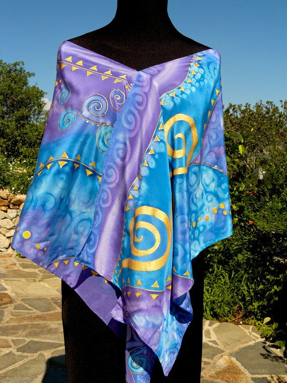 Klimt blue gold violet silk scarf Hand Painted Luxury Silk by Irisit . One of a kind !