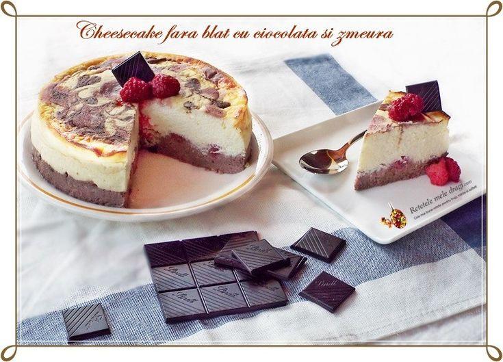 Cheesecake fara blat cu ciocolata si zmeura