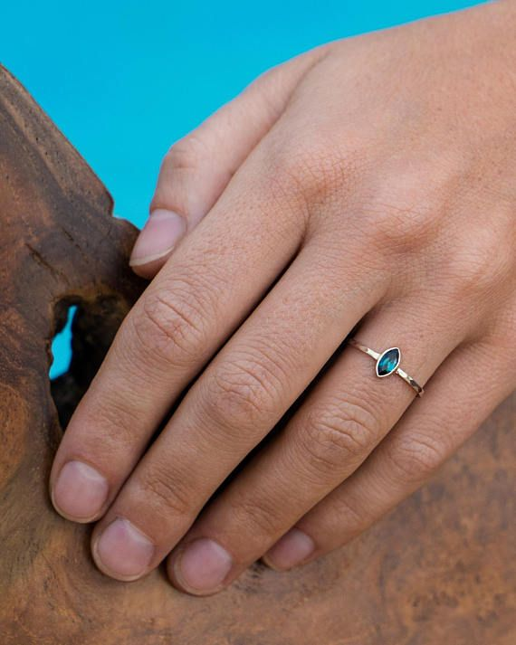 Blue Tourmaline Ring, Gold Engagement Ring, Elegant Ring, Natural Gemstone Ring, Unique Ring, Delicate Ring, Subtle Ring, Wedding Ring