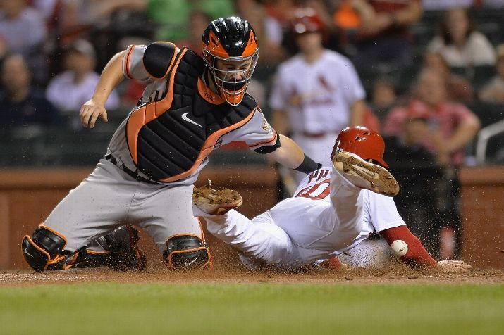 St. Louis Cardinals Team Photos - ESPN ST. LOUIS, MO - AUGUST 19: Thomas Pham #60 of the St. Louis Cardinals scores as Andrew Susac #34 of the San Francisco Giants is unable to make the tag in the seventh inning at Busch Stadium on August 19, 2015 in St. Louis, Missouri. (Photo by Michael Thomas/Getty Images) ***BESTPIX***